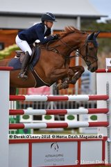 "Jennifer Wood representing NSW rode ""Cassando B"" to place 7th in the Australian Future Stars Championship"