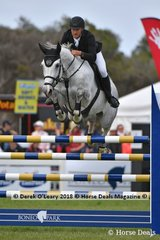 "Rhys Stones from NSW riding ""Riverton Rose Royal"" in the Australian Future Stars Championship"