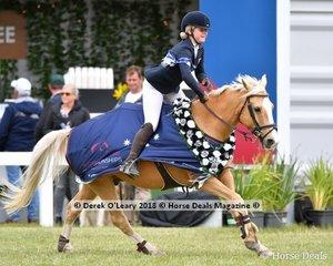 "A very happy Ivory Pony Series  Australian Champion Alexandra Inglis from NSW riding ""Hallelujah Monty Carlo Gold"""