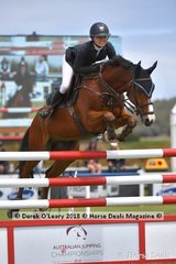"Jamie Priestley from NSW riding"" KS Optimus"" placing 6th in the Australian Young Rider Championship"