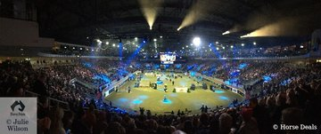 The Horse Show has been conducted here for the past 96 years. The main Coca Cola arena is used for ice hockey for much of the year. Saturday night was sold out with 7500 spectators.