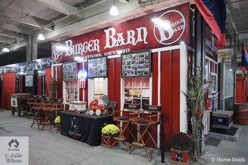 The Kingpin Farm and Burger Barn Clydesdale Team really go to town decorating their corner of the barn. They have ten horses showing at Toronto.