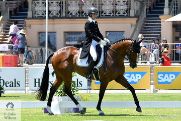 Natalie Hibbert from WA is pictured aboard  her Thoroughbred gelding, 'Two Chances' during the dressage phase of the Horseland CCI 2* on day one of action at the 2018 Australian International Three Day Event conducted at the Old Victoria Racecourse and Adelaide City parklands.