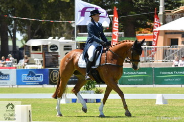 Chelsea Priestley from Victoria is pictured aboard  her Thoroughbred gelding 'Rosso Asiago' by Barely A Moment completing her Horseland CCI 2* dressage test at the 2018 Australian International Three Day Event.