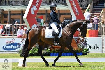 Raceelle Verma representing South Australia is pictured riding Wendy Schaeffer-McDonald's, 'Koyuna  Dark Sun' by Koyuna Quarterback during the dressage phase of the Horseland CCI 2 *.