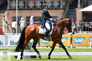 Leesa  Clausing holds 15th place aboard her, 'Willtony Garnett' with 35.20 after the dressage phase of the Horseland CCI 2* dressage phase.