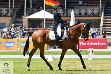 Young Rider, Sophia Landy from Victoria is pictured riding her seven year old Thoroughbred, 'Humble Glory' by Bernadini in the dressage phase of the Horseland CCI 2* dressage phase.