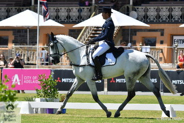 Successful Victorian professional rider, Andrew Cooper is pictured aboard Tarryn Proctor, Smash Hit gelding, 'On Coming Storm' during the  dressage phase of the Horseland CCI 2*.