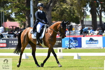Tessa Sharman from WA rode her Statford Neo gelding, 'King Basil Brush' to eighth place  with 33.50 after the dressage phase of the Horseland CCI2*.