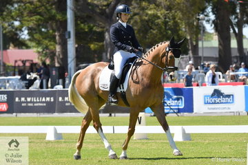 Emily Gray from WA is pictured aboard her eye catching ex racehorse, 'Rio Tonto' by Key Business during the dressage phase of the Horseland CCI2*.