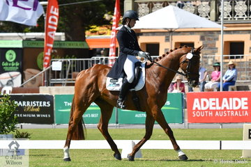 Kirilee Hosier from Victoria is pictured aboard her Thoroughbred, 'Regal Red Jasper by Lion Cavern during the dressage phase of the Horseland CCI2*.