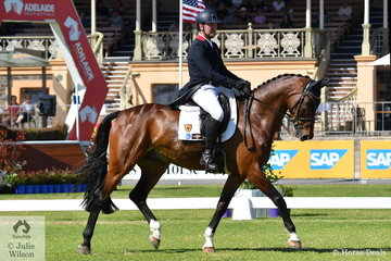 Successful international rider, Tom Boland rode the Waratah Equestrian nomination , 'Menlo Park' by Eurocommerce Berlin to eleventh place with 34.980 after the dressage phase of the Horseland CCi2* dressage phase.
