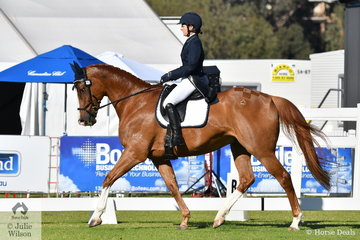 Kristen Twining from WA rode her, 'Max Almighty' to ninth place after the dressage phase of the RM Williams CIC 3 * at the 2018 Australian International 3 Day Event conducted in Victoria Park, Adelaide..