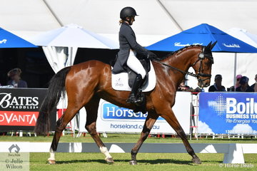 Well traveled Belinda Isbister from WA rode her Thoroughbred gelding, 'Here To Stay' by Johar, to hold sixth place on 36.80 after the dressage phase of the RM Williams CIC 3 *