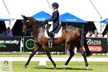 Experienced Queensland rider, Madeline Wilson rode Darren and Jenelle Wilson's Thoroughbred, 'Aces High' by Another Warrior to hold fourth place after the dressage phase of the RM Williams CIC 3 *