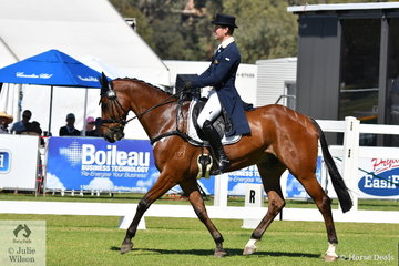 Victorian professional rider, Andrew Cooper is pictured aboard Madeline, Darren and Janelle Wilson's, 'Oaks Onyx' during the dressage phase of the RM Williams CIC 3 *