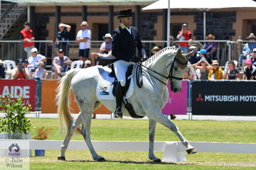 Two time Adelaide 4* winner, Stuart Tinney is pictured aboard his own and Karen Tinney's Ramirez gelding, 'War Hawk' during the dressage phase of the Mitsubishi CCI4* .