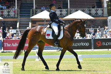 Jade Findlay is pictured aboard her own and Jean Findlay's Premier des Hayettes mare, 'Oaks Cordelia' during the dressage phase of the Mitsubishi CCI4* .