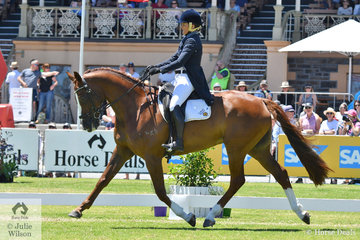 Olympian and successful eventing rider and sheep farmer from WA, Sonja Johnson is pictured aboard her own and Phoebe Johnson's typey, 'Misty Isle Valentino by Tani Mani Dances With Woolves on their way to equal sixth place after the dressage phase of the Mitsubishi CCI4* .