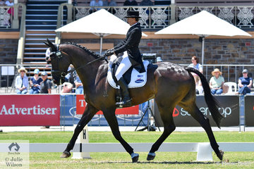 Tania Harding holds tenth place of 32 after the dressage phase of the Mitsubishi CCI4* riding her own , 'Jirrima Yorkshire' by Glenara Park Renegade. .