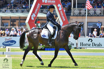 Representing New Zealand, Emily Cammock rode her Thoroughbred gelding, 'Shaw Lee' by Le Palliard to hold fourth place with 32.90 after the dressage phase of the Mitsubishi CCI4* .