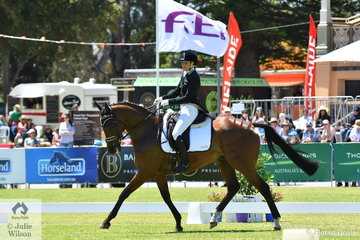 Amanda Pottinger, daughter of successful New Zealand international rider, Tinks Pottinger rode her Thoroughbreg gelding, 'Just Kidding' by Fusaichi Pegasus to hold eight place after the dressage phase of the Mitsubishi CCI4* .