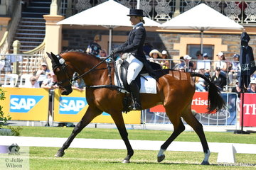 Jessiac Grosmann is pictured aboard her NZ Warmblood, 'Belmont Backstage' by Belmont Golden Boy during the dressage phase of the Mitsubishi CCI4*.