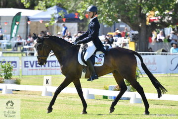 Popular and successful Victorian veterinarian and  eventing rider, Rohan Luxmoore is pictured aboard his home bred Ard Black Cat gelding, 'Bells and Whistles' during the dressage phase of the Mitsubishi CCI4* .