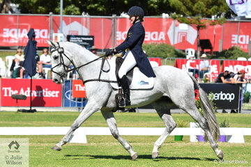 Lauren Brown from WA is well placed in third position on 32.30 of the Mitsubishi CCI4*  after the dressage phase riding her Thoroughbred gelding, 'Sky's Da Limit' by Hurricane Sky
