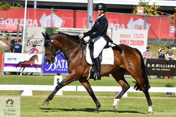 Donna Edwards-Smith representing New Zealand has been a frequent visitor to Adelaide and is pictured aboard her NZ Thoroughbred , 'DSE Tangolooma' by Align during the dressage phase of the Mitsubishi CCI4*.