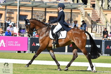 Madeline Wilson from Queensland is pictured aboard her lovely Fisherman's Friend gelding, 'I'm Bruce' during the dressage phase of the Mitsubishi CCI4* .
