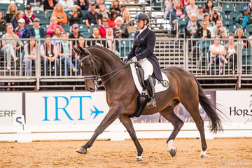 Sue Hearn and 'Remmington' win the CDI-W Dressage with a score of 69.543%