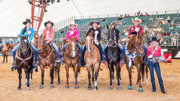 L to R top six Barrel Racers at the 2018 Australian Open Barrel Race Championships
