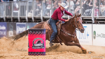 Adele Edwards and 'Moon Roc' win the AO Barrel Race Championship stopping the clock in 16.401 sec