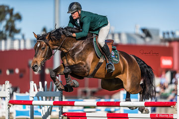 Chris Chugg and 'PSS Levilensky' go double clear in 63.69 secs to place second in the Horseware Australia Jumping Grand Prix