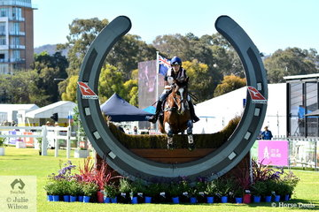 Victorian Young Rider, Charlotte Curwen is pictured over the first fence of the Horseland CCI 2* aboard her , 'LP Janvier'.