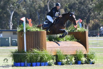 Florence Goodwin from Victoria is pictured aboard her, 'Kendalee Quantum' during their  Horseland CCI 2* cross country run.