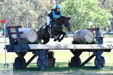 Asha Warnock is pictured aboard her Australian Stockhorse, , Lane End Bond' by Kings Gold to add just time penalties to her dressage score in the  Horseland CCI 2*.