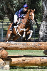 Jennifer Duffy is pictured aboard her Thoroughbred gelding, 'Grand Amour' by Exceed and Excel  during their  Horseland CCI 2* cross country run.