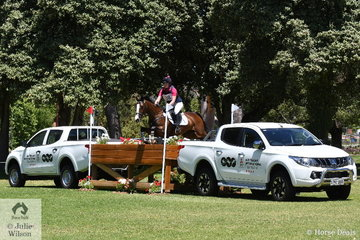 Representing New Zealand, Jessica Woods holds provisional tenth place in the  Mitsubishi CCI4* riding her, 'Just de Manzana' by Just de Pomme.