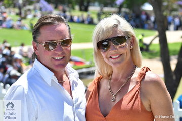 Glamorous Adelaide couple, Samantha and Clayton Kennedy are two of the many spectators who enjoyed the beautiful weather and action on cross country day.