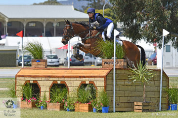 New Zealand representative, Hayley Frielick  is pictured aboard her Thoroughbred, 'Class Action LP' by With Class. They hold fifth place heading in to the final Mitsubishi CCI 4* jumping phase tomorrow.
