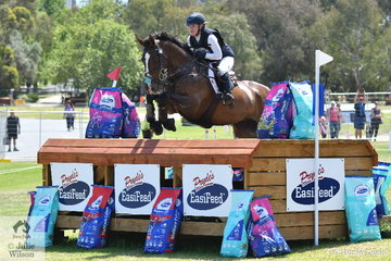 Young Queensland rider, Madeline Wilson had a successful day and is pictured aboard her  Mitsubishi CCI4* ride, 'I'm Bruce' by Fisherman's Friend. They hold provisional eighth place.