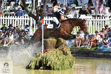 An always busy Andrew Cooper holds third place in the  RM Williams CIC 3* riding Darren and Janelle Wilson's , 'Oaks Onyx'