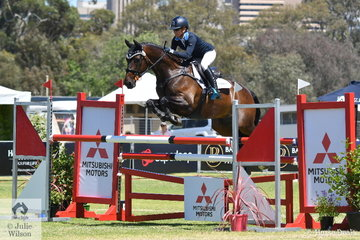 Amanda Ross has a liking for the Queensland bred Dicavalli horses. She is pictured aboard Christine and fraser Brown's, 'Dicavalli Diesel' by Donatraum that only added time penalties to their dressage score to take sixth place in the RM Williams CIC 3*.