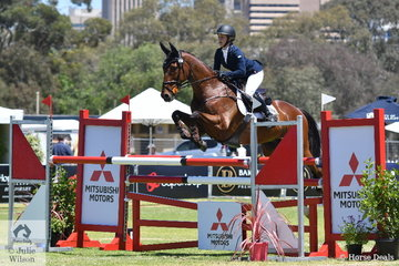 Belinda Isbister from WA rode her Thoroughbred gelding, 'Here To Stay' by Johar to take fifth place in the RM Williams CIC 3*.