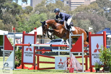 Andrew Cooper just lowered one fence riding, Darren and Jenelle Wilson's, 'Oaks Onyx' to take third place in the RM Williams CIC 3*.