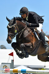 South Australian , Mark Lindh is pictured aboard his talented , 'Six Pack' during the Thomas Foods International CSI*-World Cup Qualifier conducted on the final day of the 2018 Australian International 3 Day Event.