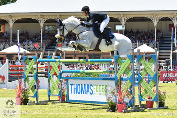 Successful South Australian jumping rider, Nicole Bruggemann rode her, 'White Wash' to take seventh place in the Thomas Foods International CSI*-World Cup Qualifier