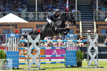 Kristy Bruhn was the only rider to field two horses and she took sixth place riding her , Baloubet du Rouet gelding, 'Kay Em Bambalou' in the Thomas Foods International CSI*-World Cup Qualifier.